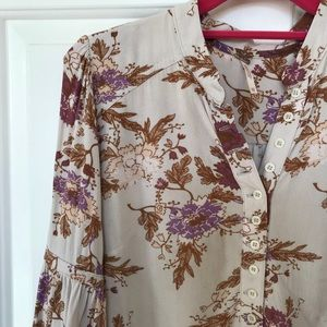 Floral Printed Blouse with Exaggerated Bell Sleeve